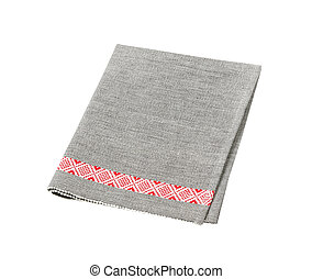 grey place mat with red decorative stripe