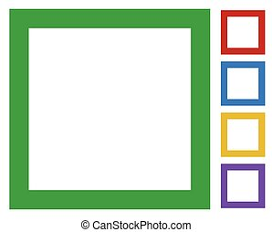 Simple, basic frame / border icons isolated on white in 5...