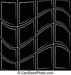 Grid pattern with deformation effect. Abstract monochrome...