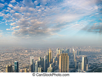 Aerial view of Downtown Dubai buildings