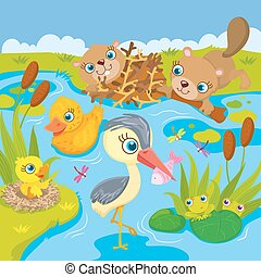 Inhabitants Of Pond And Marshes - Vector illustration of the...