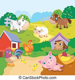 Cartoon Cute Farm Animals - Vector illustration of farm...