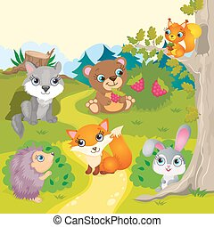 Cute Cartoon Forest Animals - Vector illustration of forest...