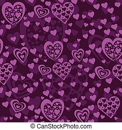 Seamless violet pattern with hearts