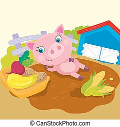 Cute Pig Lies In Puddle - Vector illustration of pig lies in...