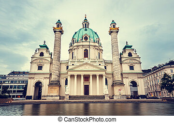 evening view of famous Saint Charles's Church at Karlsplatz...