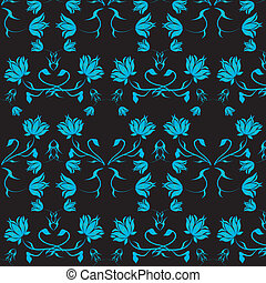 Black background with blue flowers.