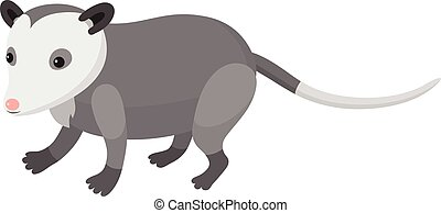 Cute cartoon opossum on isolated white background, vector...