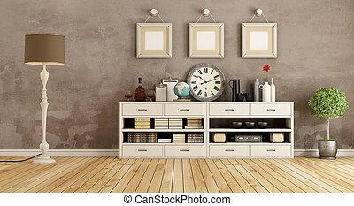 Retro room with sideboard - Retro room with white sideboard...
