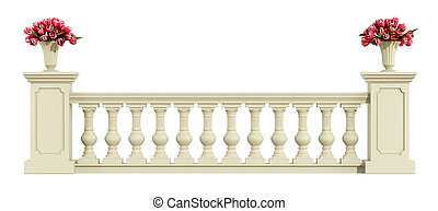 Classic balustrade isolated on white - Classic balustrade...