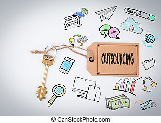 Outsourcing. Key on a white background
