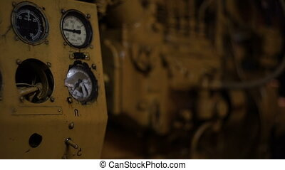 Engine room of the old ship, detail engine and devices -...