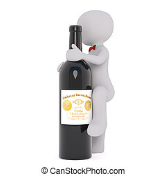 Cartoon Steward Climbing Up Big Bottle of Red Wine - 3d...