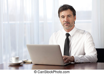 Serious Businessman teleworking at home. On a Laptop. - Men,...