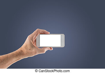 Male left hand holding smartphone with blank screen - Image...