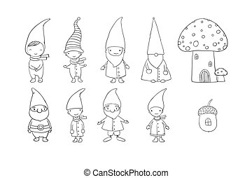 Set of cute cartoon gnomes. Funny elves. Hand drawing...