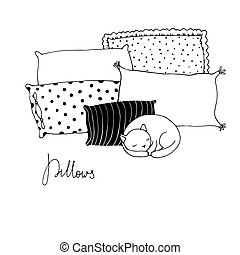 Beautiful pillows and cute cat on a white background. Hand...