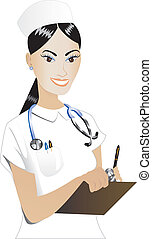 Nurse 2 - Vector Illustration of an Asian woman Nurse 2