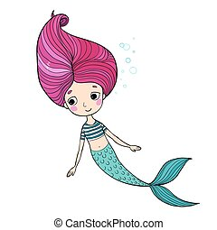 Beautiful little mermaid. Siren. Sea theme. isolated objects...
