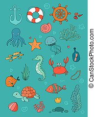 Marine illustrations set. Little cute cartoon funny fish, starfish, bottle with a note, algae, various shells and crab. Sea theme.
