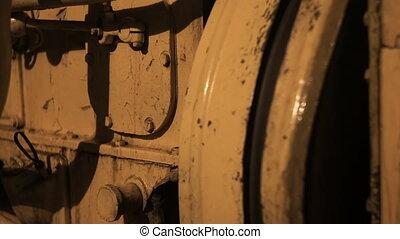 Flywheel in vessel engine room rack focus hd