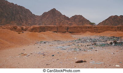 Garbage in the Desert of Egypt. Dirty Sahara. Broken...