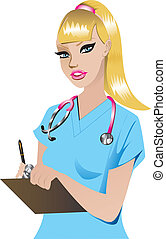 Nurse 1 - Vector Illustration of a Blond woman Nurse 1.