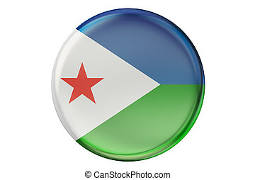 Badge with flag of Djibouti, 3D rendering isolated on white...