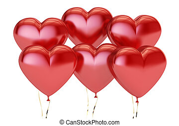 Valentines Day Heart Balloons, 3D rendering