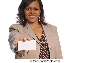 african-american woman with businesscard - african-american...