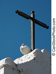 White dove under a cross