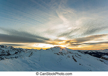 Snowy mountains in the wilderness  with blue sky