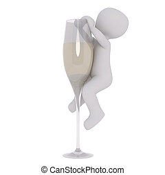 Cartoon Figure Climbing Up Side of Champagne Flute - 3d...