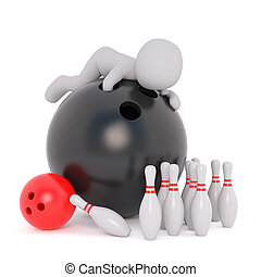 Cartoon Figure on top of Large Black Bowling Ball - 3d...