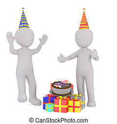 Cartoon Figures Wearing Hats at Birthday Party
