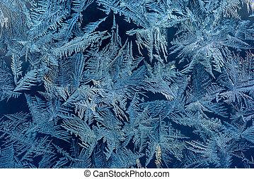 Hoarfrost in winter - Texture of ice hoarfrost on window in...