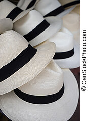 panama hat closeup in Otavalo - classic white panama hats