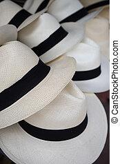 panama hat closeup in Otavalo - classic white panama hats