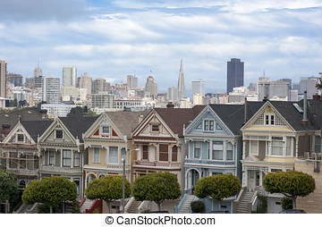 Painted Ladies in San Francisco, the row of Victorian houses...
