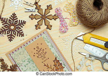 scrapbooking - scrapbook background. christmas card and...