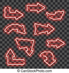 Set of glowing red neon arrows