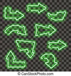 Set of glowing green neon arrows