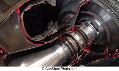 The jet engine - Detailed exposure of a turbo jet engine.
