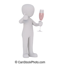 Cartoon Figure Holding Champagne Flute - 3d Rendering of...