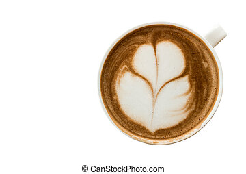 A cup of tulip latte art hot coffee with white background