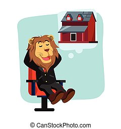 business lion thinking about new house
