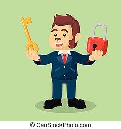 business monkey holding lock and key