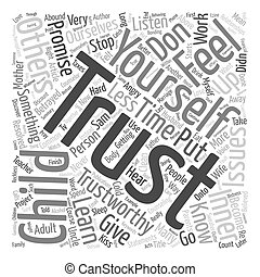Trust Starts with You text background wordcloud concept