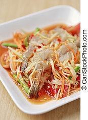 SOM TUM,Thai foods or papaya salad with fresh shrimp in...