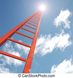 Ladder to the Sky - Concept image of a red ladder reaching...
